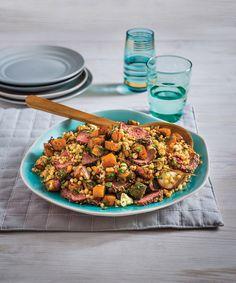 warm couscous and pumpkin salad and dukkah kangaroo fillet Couscous Salad, Quinoa Salad, Pearl Couscous, Healthy Salads, Healthy Recipes, Healthy Food, Pumpkin Salad, Grape Salad, Warm Salad