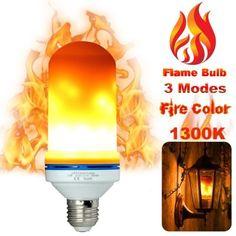 NYE NEIL 2-pack 3 Mode LED Flame Light Bulb Flat white E26 Base Flickering Fire Effect Decorative Lights Vintage Calming Effect Light Atmosphere Upside Down Function W//Gravity Sensor