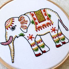 """Elephant embroidery kit """"You are you. Diy Embroidery Kit, Hand Embroidery Videos, Creative Embroidery, Simple Embroidery, Learn Embroidery, Hand Embroidery Designs, Embroidery Works, Modern Embroidery, Geometric Embroidery"""