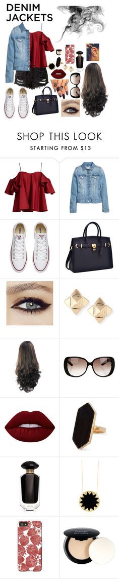 """""""Bad Ass Girl"""" by tiana-obrien ❤ liked on Polyvore featuring Anna October, Converse, Valentino, Gucci, Lime Crime, Jaeger, Victoria's Secret, House of Harlow 1960, Thornback & Peel and NYX"""