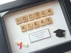 Graduation Gifts Graduation Gift Personalised Scrabble by TheLittleBlueJumper Phd Graduation Gifts, Graduation Party Planning, University Graduation Gift Ideas, Scrabble Crafts, Scrabble Art, University Degree, Doctor Gifts, Grad Parties, Inspirational Gifts