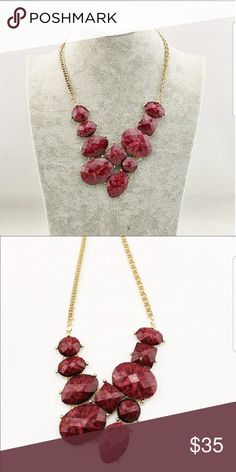 Red Rock Candy Necklace Absolutely gorgeous red rock statement necklace. Beautiful red with pinkish undertones..... simply stunning piece! 😍Length is approximately 10 inches long 💖Last pic is mine, all others by T&J Designs 🗻Material content: 18k gold plated metals, stone,  nickle free and lead free  🛍BUNDLE AND SAVE WITH TWO OR MORE ITEMS 🛍 T&J Designs Jewelry Necklaces