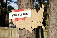 The Pinkbook - DIY Wedding: Burlap Guest Book. Maybe a map showing guests names.