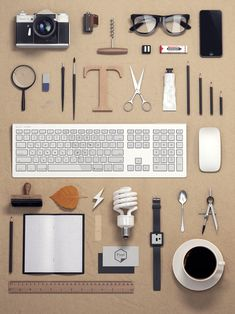 Graphics piece. the objects of a graphic designer. The piece represents the objects associated with the typical graphic designer. However, their meticulous arrangement leads to the notion that graphic designers have that type of personality!