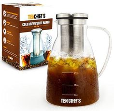 Cold Brew Coffee Maker And Hyper Iced Tea Infuser By TenChef's - 1.5L Large Glass Carafe Pitcher with Removable Stainless Steel Filter System Chiller, Easy to Use And Clean, BPA Free