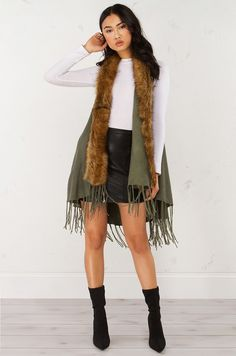 front view Fur Trim Sleeveless Vest in Olive Brown