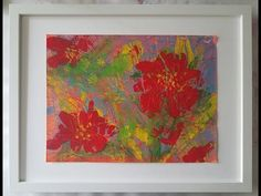 112_Red Flowesr acrylic painting & monotype (1/3) / Fun and easy art work (#199A1)) - YouTube Easy Art, Simple Art, Using Acrylic Paint, Printmaking, Art Work, Abstract, Youtube, Red, Painting