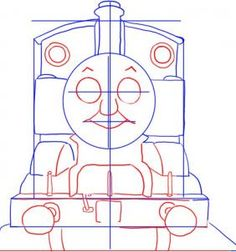 How To Draw Thomas The Tank Engine, Step by Step, Drawing Guide, by Dawn Thomas Birthday Parties, Thomas The Train Birthday Party, Trains Birthday Party, Train Party, Boy Birthday, Birthday Ideas, Drawing Cartoon Characters, Character Drawing, Cartoon Drawings