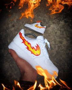 Air 'Custom' Swoosh Flames # # The post Air 'Custom' Swoosh Flames # sneakers nike air force Dr Shoes, Hype Shoes, Gucci Shoes, Shoes Heels, Mode Logos, Shoes Wallpaper, Nike Shoes Air Force, Nike Air Force Ones, Custom Painted Shoes