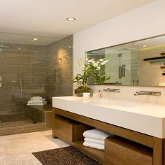Modern Trough Sink, Contemporary, bathroom, Brown Design