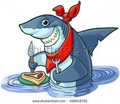 #Vector #cartoon #clipart #illustration of a #cute happy smiling #shark with a #knife, #fork, and bib, about to eat a #steak on a plate.