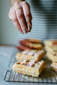 VANILLA-GLAZED WAFFLED DOUGHNUT with SPRINKLES [treasuresandtravelsblog] [funfetti, sprinkles, nonpareils, jimmies, dragee, sanding sugar, shaped sprinkles, crystal sugar, hundreds-and-thousands, perle en sucre, nib sugar, pearl sugar, hail sugar]