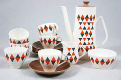 #decoratecolorfully vintage 'checkmate' coffee set