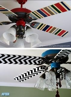 Mod Podge fabric onto fan blades.no link but i'm assuming you simply take the metal brackets off, mod podge fabric onto blades, and boom. new, prettier fans. Do It Yourself Fashion, Do It Yourself Home, Diy Projects To Try, Home Projects, Painting Ceiling Fans, Paint Ceiling, Diy Image, Mod Podge Fabric, Paint Fabric