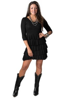 Color Fx® Women's Black Lace with Ruffles 3/4 Sleeve Dress
