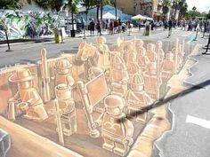 LEGO Terra Cotta Army : des LEGOs en 3D Street Chalk Art