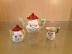 Nippon miniature teaset Googlie Eye design - great for doll or Nippon collection