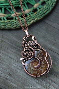 Ammonite pendant Wire wrapped pendant Copper by LenaSinelnikArt