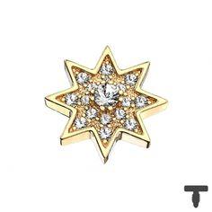 9 mm Dermal Anchor vergoldet Stern mit Kristall in Materialstärke mm Dermal Anchor, Chf, 9 Mm, Gold Rings, Rose Gold, Brooch, Jewelry, Crystals, Stars