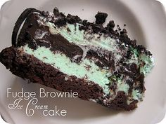 Fudge Brownie Ice Cream Cake...My favorite flavors, mint and chocolate
