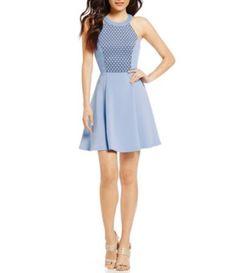 69a75f1f Sequin Hearts High Neck Laser-Cut Bodice Skater Dress #Dillards Junior  Dresses, Dillards