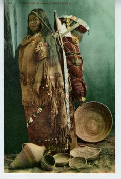 c. 1905 Paiute Indian Woman & Papoose with numerous Baskets. Oregon