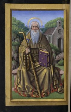 St Anthony Abbot depicted with some of his symbolic attributes: a pig and a Tau symbol.