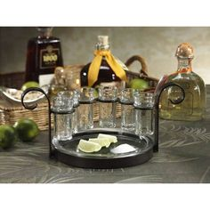 These beautiful quality crafted shots glasses come complete with an elegant holder and tray. This set is ideal for impressing guests at any party or event.