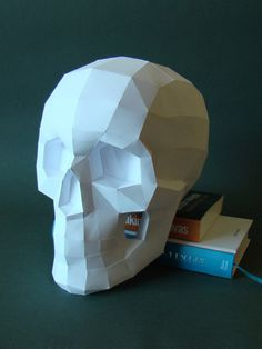 Paper skull /Real size papercraft skull kit by Paperstatue on Etsy