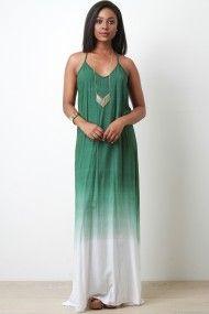 Crochet Racerback Ombre Maxi Dress | UrbanOG