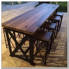 outdoor wooden table and chairs-#outdoor #wooden #table #and #chairs Please Click Link To Find More Reference,,, ENJOY!! Patio Bar Table, Bar Table And Stools, Wooden Table And Chairs, Timber Table, Bar Tables, Bar Chairs, High Chairs, Bar Table Sets, Eames Chairs