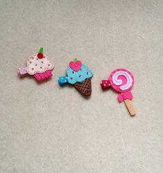 3 Candy Shop Baby Girls Hair Clips Alligator Barrettes - Cupcake, Ice Cream Cone, and Lollipop Sucker. $9.25, via Etsy.