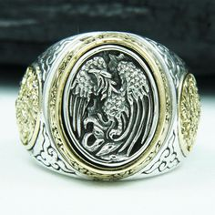 PHOENIX OF THE RISING SUN 925 STERLING SILVER US SZ 12.5 MEN BIKER RING gb-r010 in Jewelry & Watches, Men's Jewelry, Rings | eBay