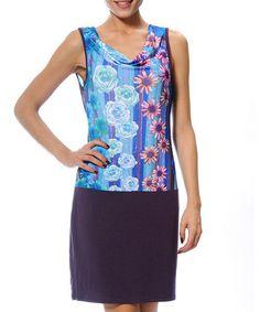 Look what I found on #zulily! Light Blue & Pink Flower Herbert Drape Neck Dress #zulilyfinds