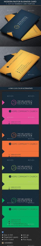 Modern Pastor Business Card Template #design Download: