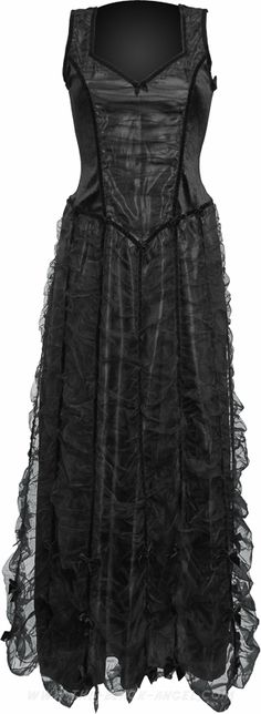 Long black gothic dress by Sinister Clothing, with multi-layered skirt and velvet bodice.
