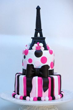 Would love it with a little less pink!-Eiffel Tower Cake… Would love it with a little less pink! Eiffel Tower Cake… Would love it with a little less pink! Paris Birthday Cakes, Paris Themed Cakes, Paris Cakes, 9th Birthday, Cake Birthday, Happy Birthday, Birthday Wishes, Birthday Parties, Pretty Cakes