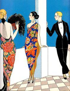 'A Taste for Shawls' 1922 (detail( by GEORGES BARBIER (pochoir print) (from Art Deco the Golden Age of Graphic Art & Illustration by Michael Robinson & Rosalind Ormiston 2013) please follow minkshmink on pinterest) #flapper #twenties #jazzera #artdeco #shawls #eveningwear #dandy