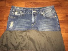Denim Topped Peasant Skirt Up-Cycled Jeans meet by reconstruKteD
