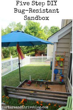 Easy DIY sandbox! Love how big it is and the bench. Cute flowerbox too! Non-toxic.