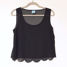 H.I.P. - Sheer Scalloped Tank H.I.P. Sheer scalloped tank in black with black beading. Worn once. Excellent condition.  Offers welcome.  No trades.  Bundle for discount. Happening in the Present Tops Tank Tops