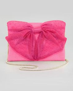 Valentino Straw Point d'Esprit Bow Shoulder Bag in Pink #ad from Neiman Marcus