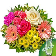 Blumenstrauß Bolero mit Vase  Entzünden Sie ein Feuerwerk an Farben.  Ihr Blumengruß besteht aus 1 cremefarbenen Rose, 1 pinkfarbene Rose, 1 rosafarbenen Sprayrose, 1 herrlich gelben Chrysantheme, 2 rosafarbenen Gerberas, 1 pinken Nelke, 3 Pistochia, 10 Salal und 3 Solidago. Der Durchmesser beträgt ca. 30 cm. Dazu erhalten Sie eine Pflegeanleitung und Chrysal Frischhaltemittel.
