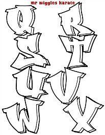 wobbles karate alphabet 2 - My Modern Sofas How To Do Graffiti, Easy Graffiti Drawings, Graffiti Text, Graffiti Tagging, Grafitti Alphabet, Graffiti Lettering Alphabet, Hand Lettering, Graffiti Tutorial, Letras Tattoo