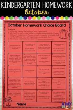 Kindergarten Homework Choice Board - October  This monthly homework menu is perfect for fall in kindergarten and it includes a variety of skills at the kdg level.  It is a great option for kindergarten teachers who do not want to assign homework but are pressured to by parents or required to give homework.  Includes beginning of the year skills (numbers