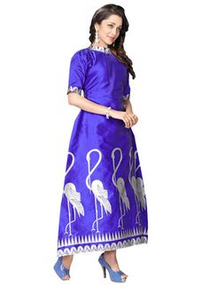Blue printed art silk long-kurtis    Blue Kurtis, blue color kurtis, royal blue colour kurtis, blue Kurtis online, blue kurti