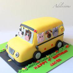 Farm Animal Bus Cake - cake by Adilicious Safari Birthday Cakes, 2nd Birthday Party For Boys, Second Birthday Ideas, Barbie Birthday, First Birthday Cakes, Mickey Mouse Clubhouse Cake, Mickey Mouse Birthday Cake, School Bus Cake, Car Cakes For Boys