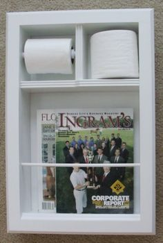 Magazine Holders: (MR-15) Solid Wood Recessed In the Wall Bathroom Magazine Rack, toilet paper holder combination unit PLUS room for a spare roll, Bevel frame, Enamel Finish, stain finish or unfinished! Easy installation to inset this product into your wall.
