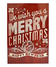 Look at this #zulilyfind! 'We Wish You a Merry Christmas' Red Vintage Wall Plaque #zulilyfinds