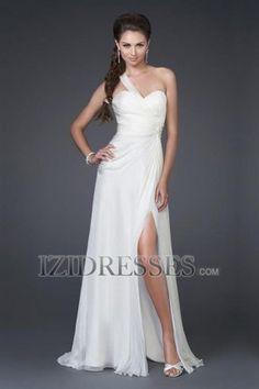 A-Line Sheath/Column One Shoulder Sweetheart Chiffon Prom Dress - IZIDRESSES.COM